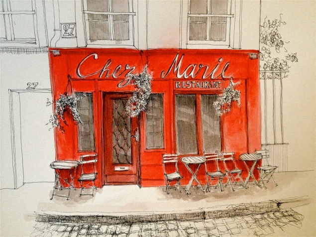 French Cafe Drawing Small Cafe Reminded Her of