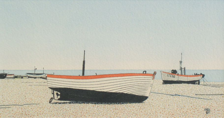 High and Dry, Aldeburgh | ink & watercolour | 6'' x 11''