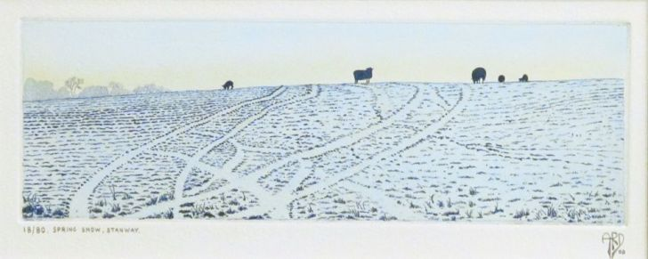 Spring Snow, Stanway Ed.18/80 | Etching with hand colouring | 2'' x 7''