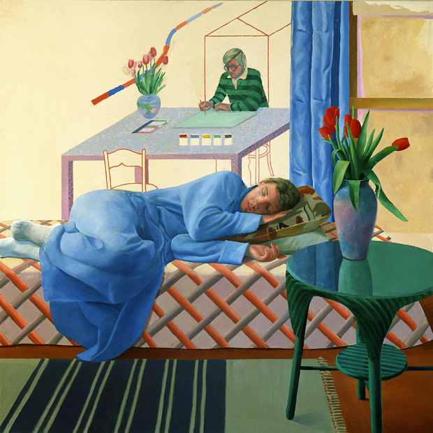"""MODEL WITH UNFINSHISHED SELF-PORTRAIT"" 1977 OIL ON CANVAS 60 X 60"" © DAVID HOCKNEY"