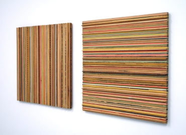 Assorted wooden yardsticks, 36 x 78 x 3 inches